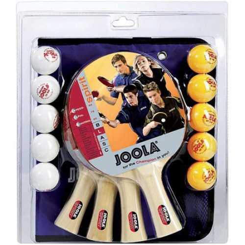 JOOLA Family Table Tennis Set with 4 Spirit Rackets and 10 Balls