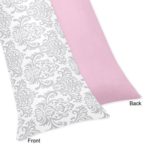 Sweet Jojo Designs Body Pillow Case for the Pink and Gray Elizabeth Collection by