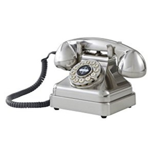 Crosley CR62-BC Kettle Classic Desk Phone with Push Button Technology, Brushed Chrome [Brushed Chrome]