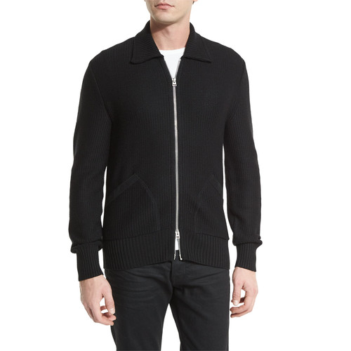 TOM FORD Tuck-Stitch Zip-Up Wool Jacket, Black