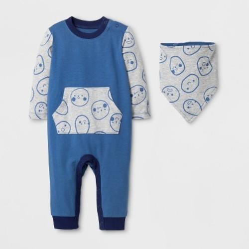 Baby Boys' Long Sleeve Romper with Kangaroo Pocket and Bib - Cat & Jack Shallow Blue