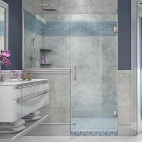 DreamLine Unidoor Plus 59 in. to 59-1/2 in. x 72 in. Frameless Pivot Shower Door in Brushed Nickel with Buttress Panel