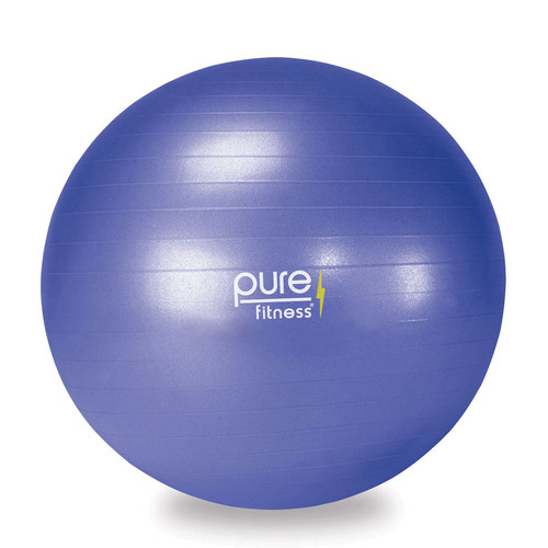 Pure Fitness Anti-Burst Core Exercise Stability Ball with Hand Pump [Blue (65 cm)]