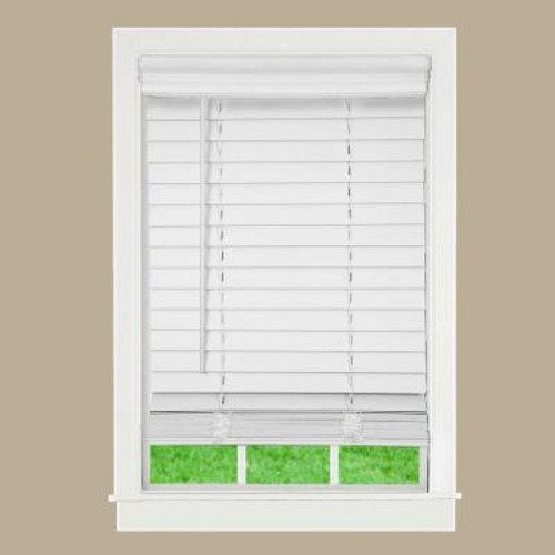 Perfect Lift Window Treatment White 2 in. Cordless Faux Wood Blind - 22 in. W x 72 in. L