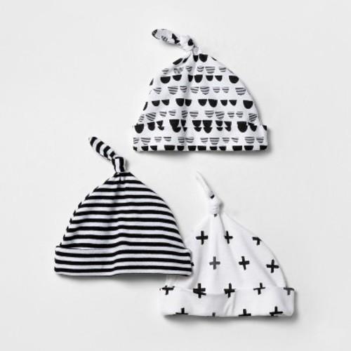 Baby 3pk Hat Set Cloud Island - Black/White