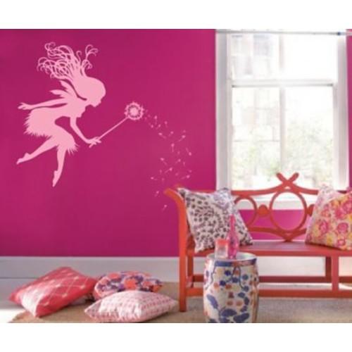 Innovative Stencils Fairy Tale Dandelion Wand Nursery Wall Decal; Soft Pink