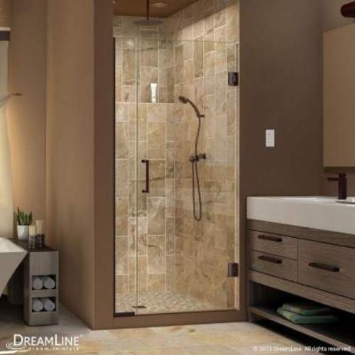 DreamLine Unidoor Plus 31 in. to 31-1/2 in. x 72 in. Semi-Frameless Hinge Shower Door in Oil Rubbed Bronze