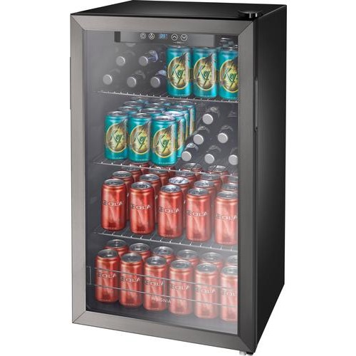 Insignia - 115-Can Beverage Cooler - Black stainless steel