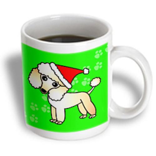 3dRose - Janna Salak Designs Dogs - Cute Apricot Poodle Green Paw Background with Santa Hat - 11 oz mug