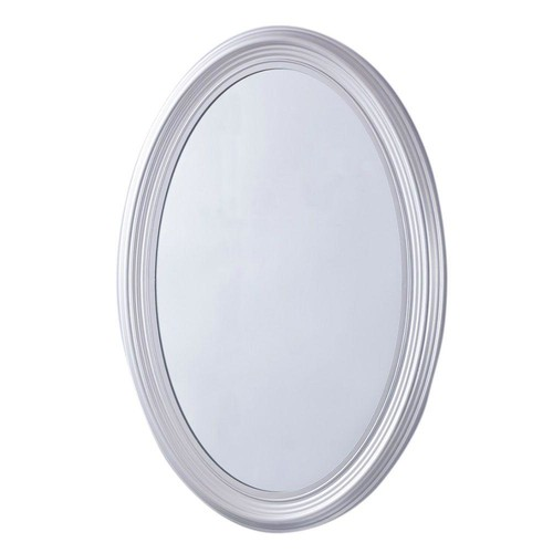 Bellaterra Home Sherwood 21 in. x 31 in. Oval Single Framed Wall Mount Mirror in Pewter