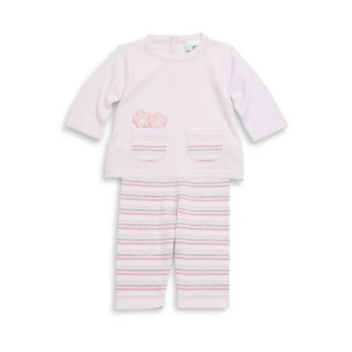 Baby's Two-Piece Cotton Embroidered Top & Striped Pants Set