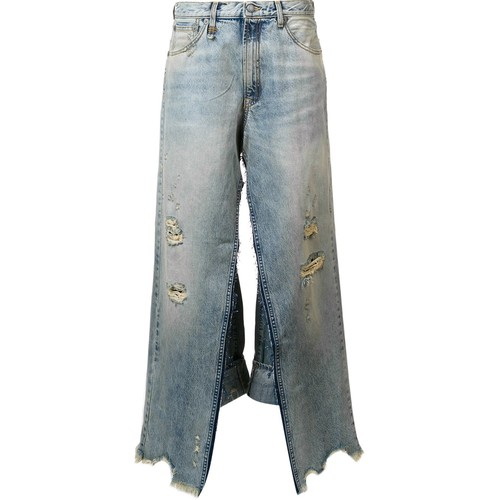 R13 Distressed Wide Leg Jeans