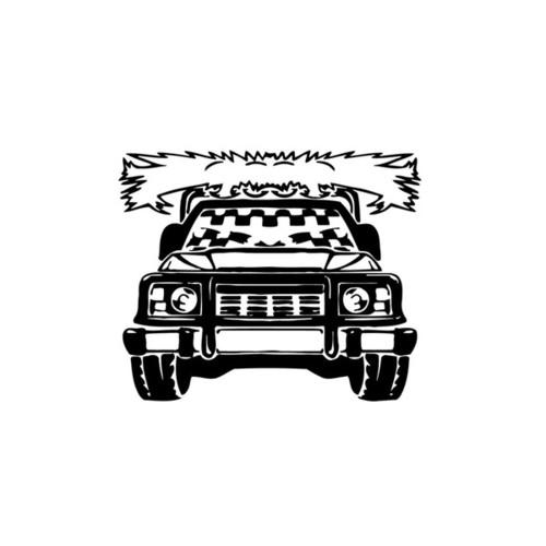 Checkered Flag Truck Vinyl Wall Art