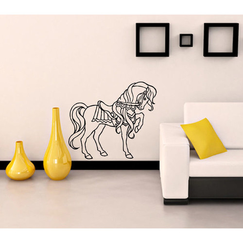 Wall Mural Vinyl Sticker Decal horse mane saddle Sticker Decal Size 22x30 Color Black