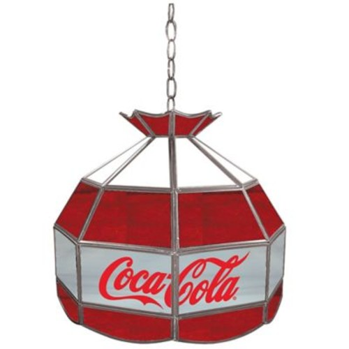 Vintage Coca-Cola Stained Glass Pendant Billiard Lamp in Red/White/Grey
