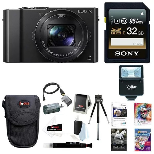 Panasonic LUMIX LX10 4K 20MP Digital Camera w/ 64GB SD Card & Corel Suite Bundle