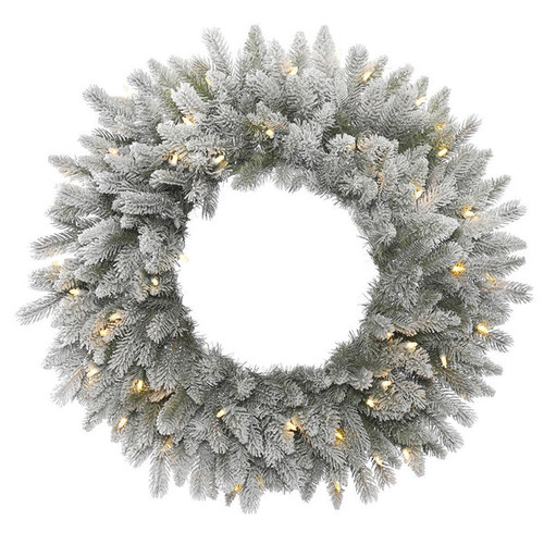 Vickerman 24-inch Frosted Sable Wreath With 50 Warm White LED Lights