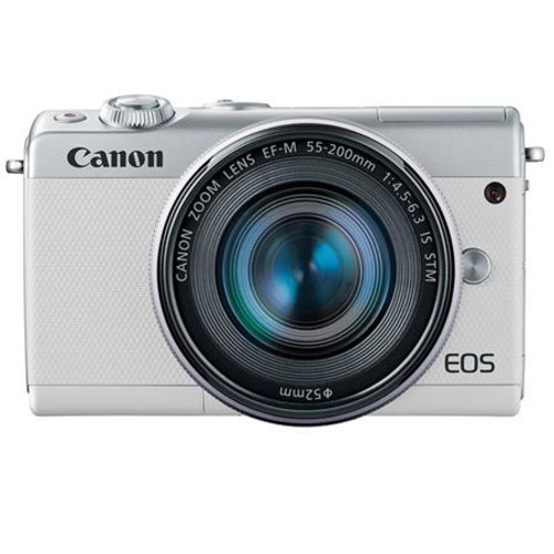 Canon EOS M100 Camera with EF-M 15-45mm & 55-200mm IS STM Lenses, White