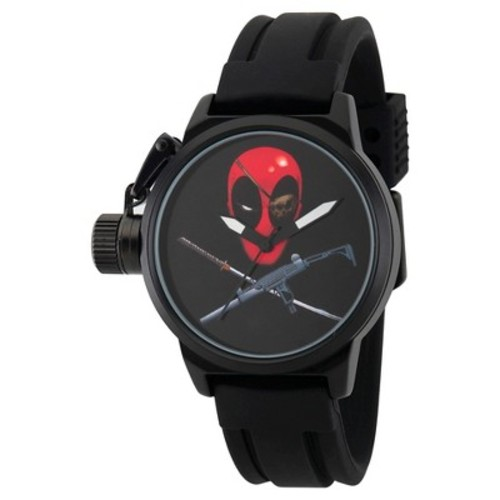 Men's Marvel's Deadpool Black Alloy Crown Protector Watch - Black