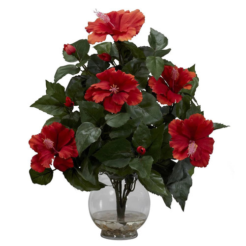 Nearly Natural 17 in. H Red Hibiscus with Fluted Vase Silk Flower Arrangement