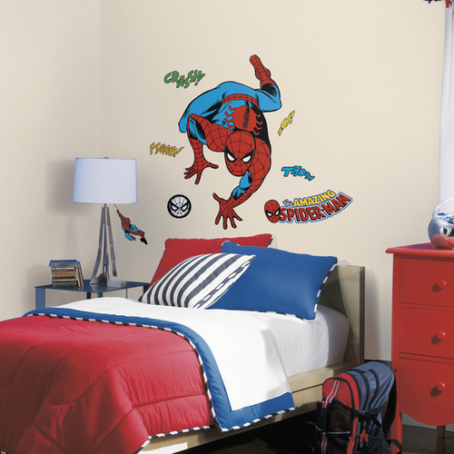 Classic Spider-Man Comic Red/Blue Peel and Stick Wall Decals