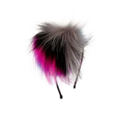 Multicolor Fox Fur Pom-Pom Headband