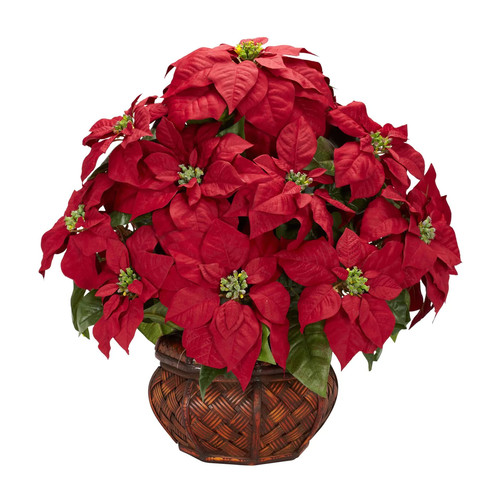 Nearly Natural 1265 Poinsettia Permanent Flower, Red