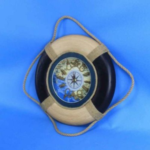 Handcrafted Nautical Decor Antique Decorative Life Ring 15'' Clock; Blue