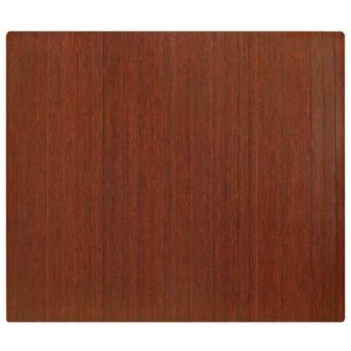 Anji Mountain Standard Dark Brown Mahogany 48 in. x 60 in. Bamboo Roll-Up Office Chair Mat without Lip