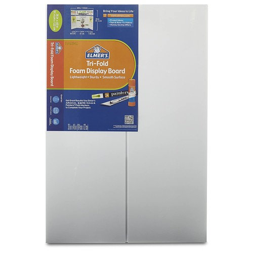 Elmer's Tri-Fold Premium Foam Display Board, White, 36x48 Inch (Pack of 12)