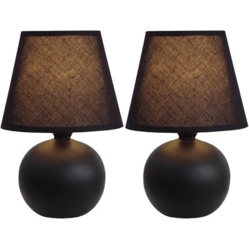 Simple Designs 8.78 in. Black Mini Ceramic Globe Table Lamp (2-Pack)