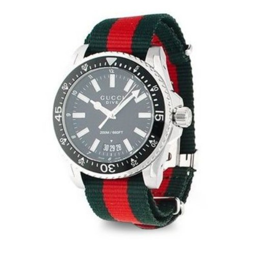 Gucci Dive Stainless Steel Nylon Band Watch