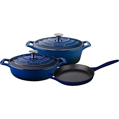 La Cuisine LC 2770 5 Piece Enameled Cast Iron Oval Casserole Cookware Set, Ultramarine Blue