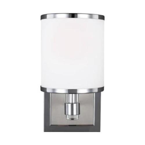 Feiss Prospect Park 1-Light Satin Nickel/Chrome Wall Bath Light