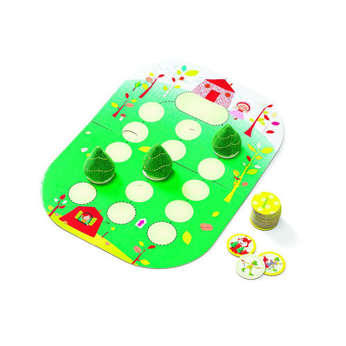 Lilliputiens Whoo Hop Red Riding Hood Game With Fabric Trees and Hook and Loop-fastened Cards