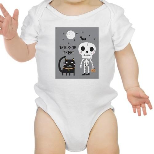 Skeleton White Cat Baby Halloween Bodysuit White Gift For Baby Girl
