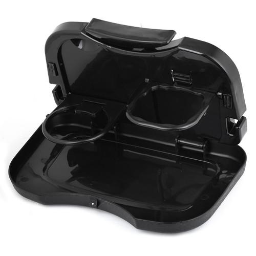 Durable Plastic Folding Back Seat Car Beverage Cup Holder Stand for Snack Beverage Black