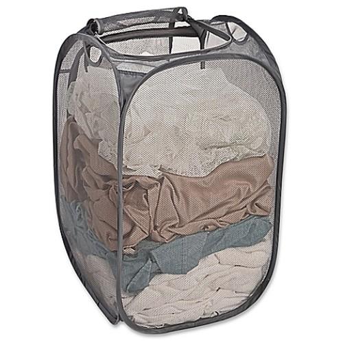 Smart Design Pop-Up Flip Hamper and Basket in Grey