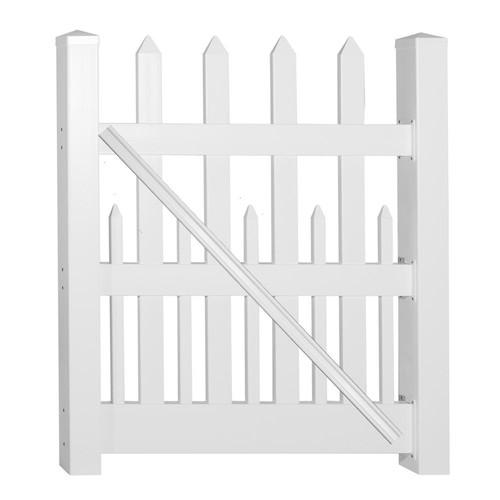 Weatherables Ashville 4 ft. W x 4 ft. H White Vinyl Picket Fence Gate