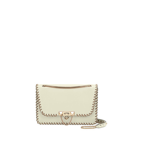 VALENTINO Demilune Small Vitello Groumette Shoulder Bag