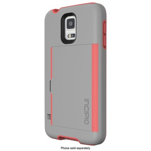 Incipio - STOWAWAY Case for Samsung Galaxy S 5 Cell Phones - Gray/Neon Orange
