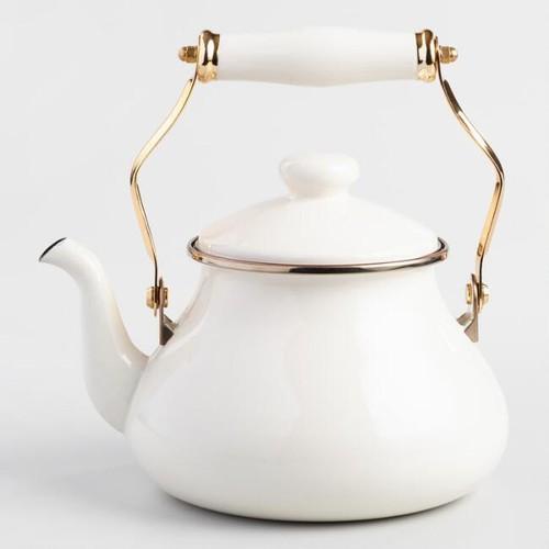 Ivory Enamel Tea Kettle