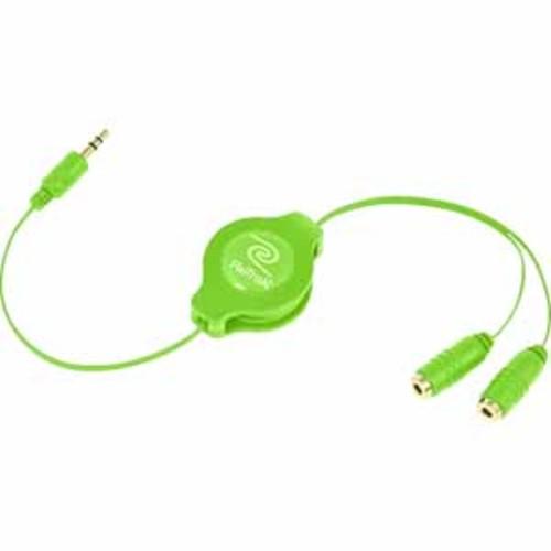 ReTrak Retractable Headphone Splitter - Green
