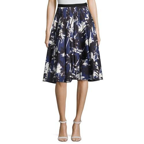 JASON WU Pop Palm-Print Skirt, Blue Pattern