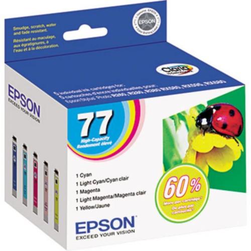 EPSON 77 T077920 Claria Hi-Definition Ink Cartridges, Color Multi-pack (5 cart per pack)