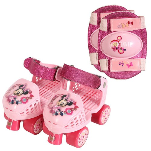 Playwheels Disney Minnie Mouse Junior Size 6-12 Roller Skates with Knee Pads