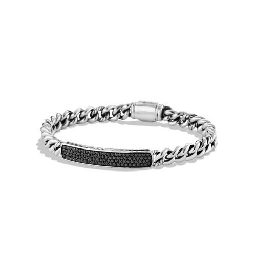 Petite Pav ID Bracelet with Black Diamonds