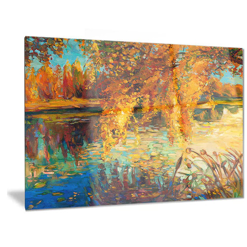 Designart 'Autumn Forest and Sky' Landscape Metal Wall Art