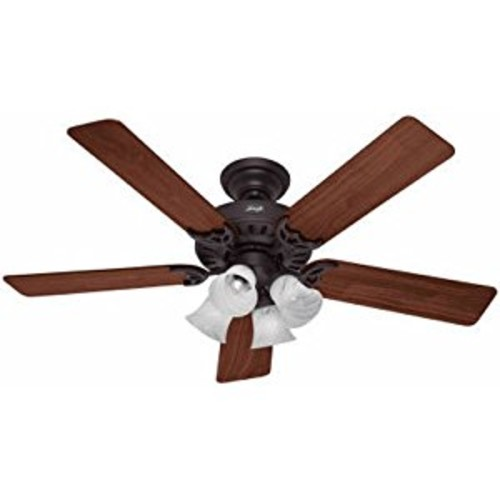 Hunter 53067 Studio Series 52-inch New Bronze Ceiling Fan with Five Walnut/Cherry Blades and Light Kit [New Bronze]