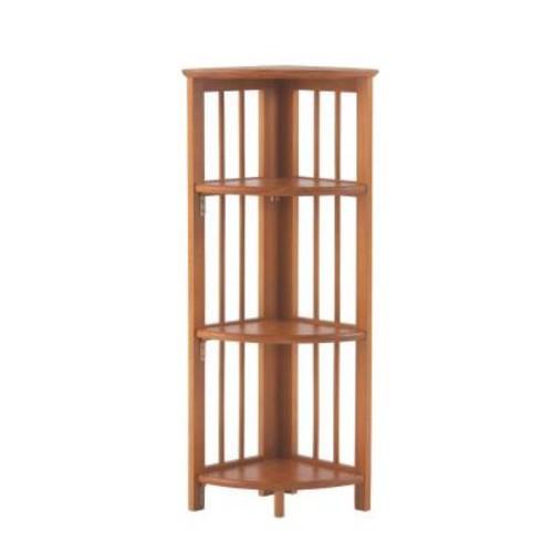 Casual Home Walnut Folding Corner Open Bookcase